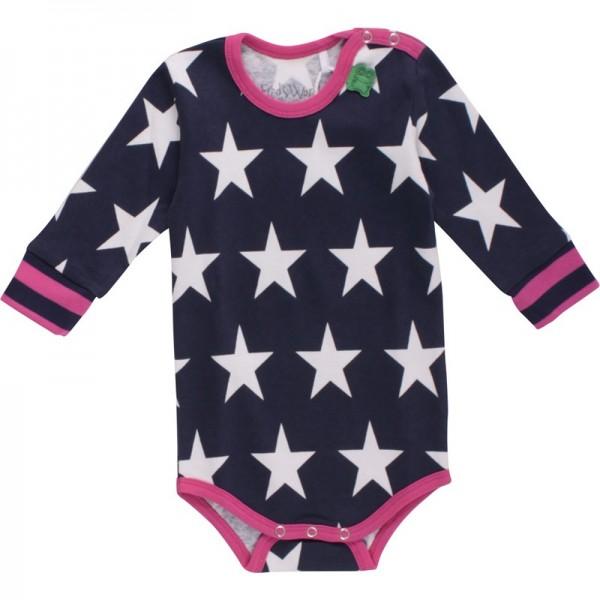 Langarmbody Sternen für Mädchen navy magenta