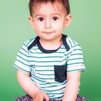 Babyshirt kurzarm türkis Streifen Brusttasche