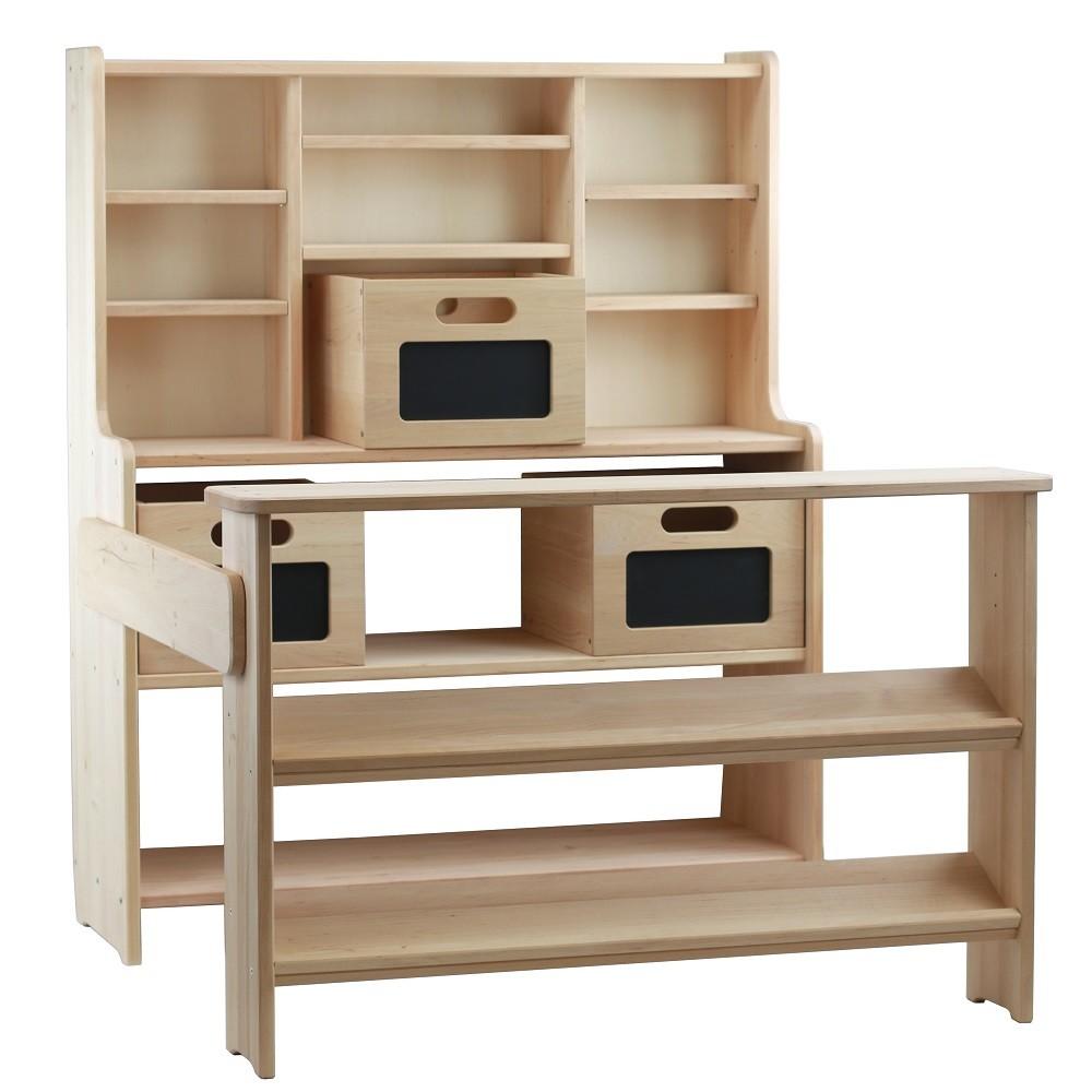 kologischer kaufladen theo aus holz set mit 3 kiste. Black Bedroom Furniture Sets. Home Design Ideas