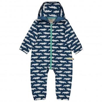 Ungefütterter Baby Overall Krokodile dunkelblau