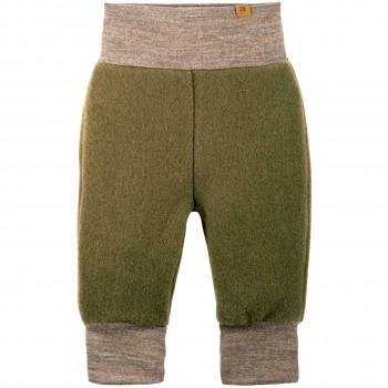 Warme Woll Fleece Hose Bündchen moos-grün