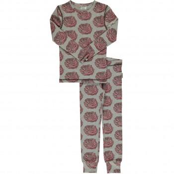 Mädchen Pyjama rosa Rosen in grau