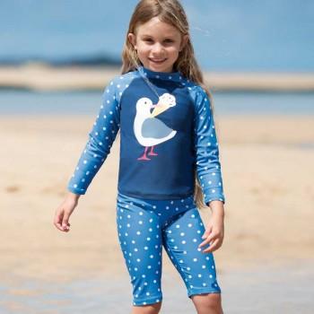 Badeanzug Shirt mit Bermuda Möwe Punkte