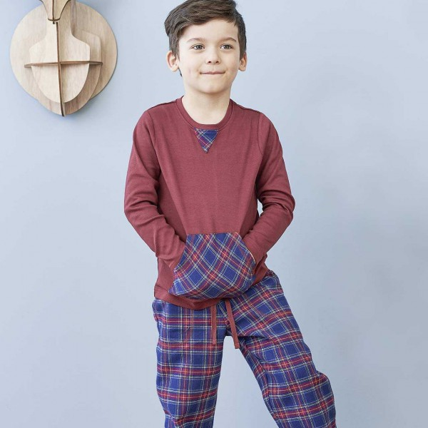 e2aff492b0 Living Crafts Schlafanzug Flanell in rot blau