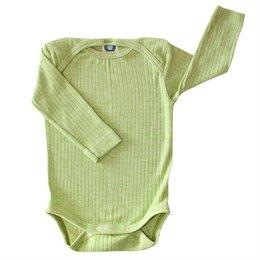 Baumwolle Wolle Seide Body langarm grün meliert
