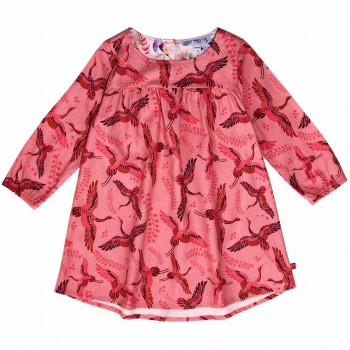 Flanellkleid langarm Kraniche rosa-pink