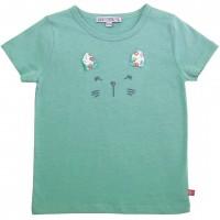 Shirt kurzarm Katzengesicht in grün