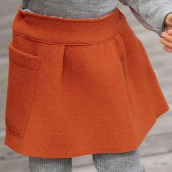 Warmer Woll Rock mit Strickbund in orange