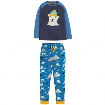Kinder Schlafanzug mit Eisbär Aufnäher