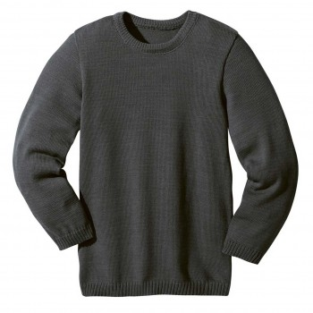 Wolle Basic Pullover in anthrazit