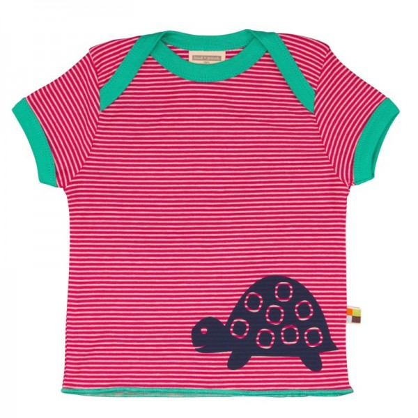 Loud and Proud Bio Shirt Ringel mit Schildkröte pink