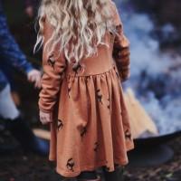 Mädchen Sweatkleid Wolf in terracotta
