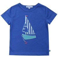Bio T-Shirt royal Segelboot Aufnäher