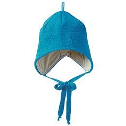 Wolle Wintermütze breiter Ohrenschutz blau
