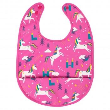 Einhorn Lätzchen mit Auffangtasche in pink