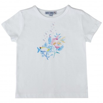 Weißes Shirt kurzarm Fisch-Druck