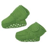 Bio Wolle Babyschuhe mit Klettverschluss grün