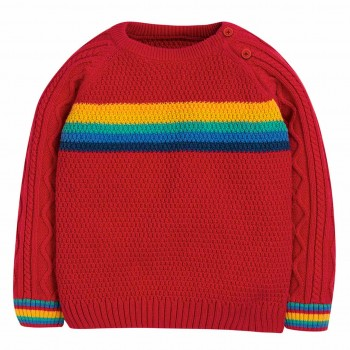 Warmer Strick Pullover Regenbogen in rot