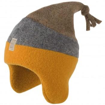 Warme Woll-Fleece Kinder Mütze ocker