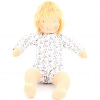 Babypuppe Struwwelchen (blond mit blumiger Puppenkleidung)