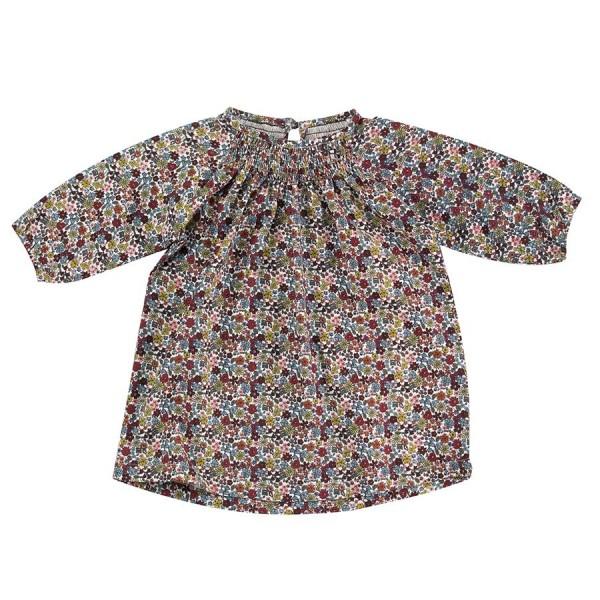 Retro leichtes Shirt Mädchen Blume elastischem Kragen