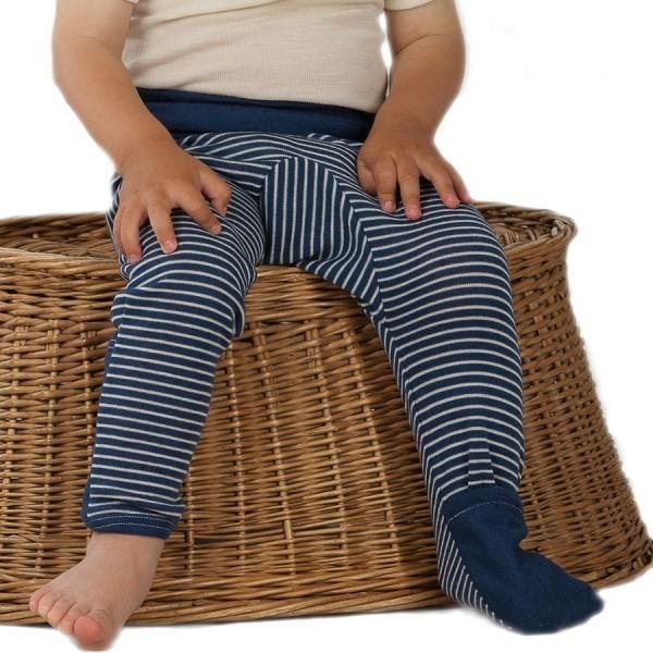 Mitwachsende Wolle Seide Hose blau gestreift Kratzschutz