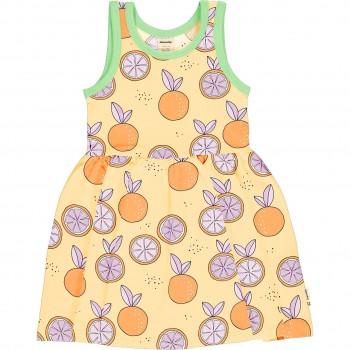 Flatterkleid Orangen ohne Arm in gelb