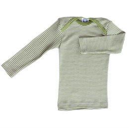 Wolle Seide atmungsaktives Langarmshirt grüner Ringel