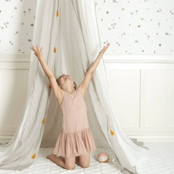 Baldachin und Babybett Himmel – weiß/grau gestreift