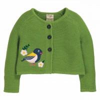 Grüne Strickjacke mit Knöpfen Vogel