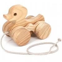 Nachziehtier hüpfende Ente aus Holz für Kinder