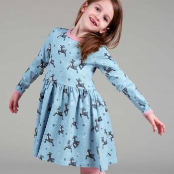 Flatter Kleid langarm elastisch mit Rentieren