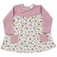 Kleid langarm Baby Tiger beige/rosa Punkte