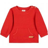 Strukturierter Pullover Kängurutasche in rot