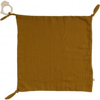 Schmusetuch mit Beißring safran 35 x 35 cm
