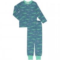 Schlafanzug langarm Krokodile blau