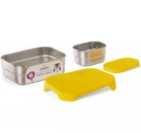 Edelstahl Brotdose für Schule & Freizeit gelb