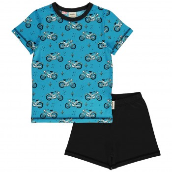 Kurzer Sommer Schlafanzug Mopeds blau