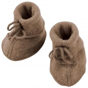 Warme Fleeceschuhe Schurwolle walnuss-b raun