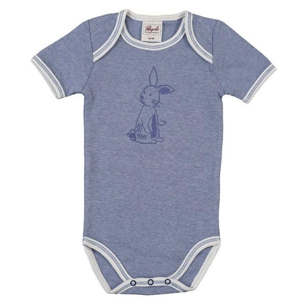 Bio Baby Body feine Rippe Hase blau