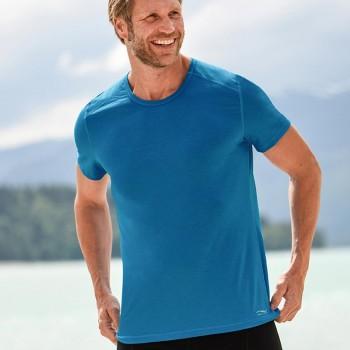 Wolle Seide Herren T-Shirt Regular Fit blau