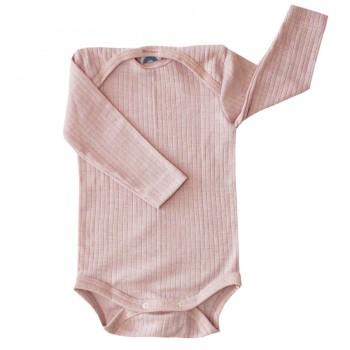 Baumwolle Wolle Seide Body langarm rosa meliert