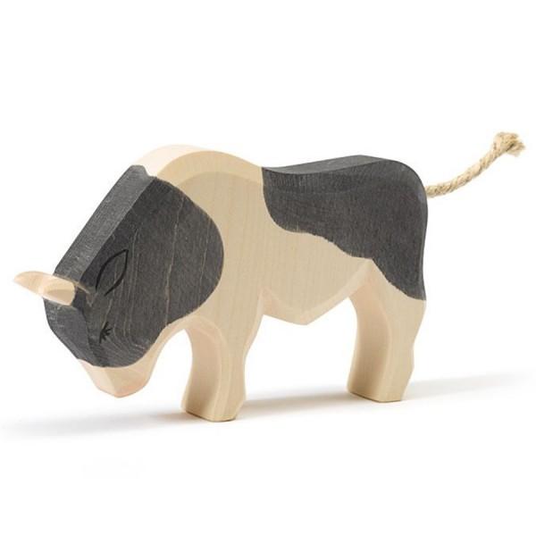 Stier schwarz Holzfigur 10,5 cm hoch