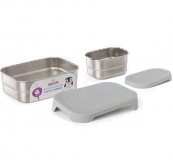 Edelstahl Brotdose für Schule & Freizeit grau