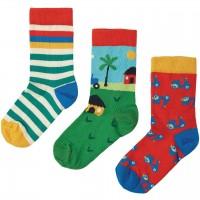 Kinder Bio Socken 3er Pack Fahrzeuge