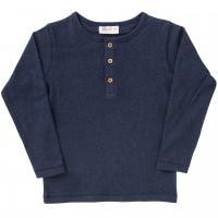 Shirt langarm Rippoptik in dunkelblau melange