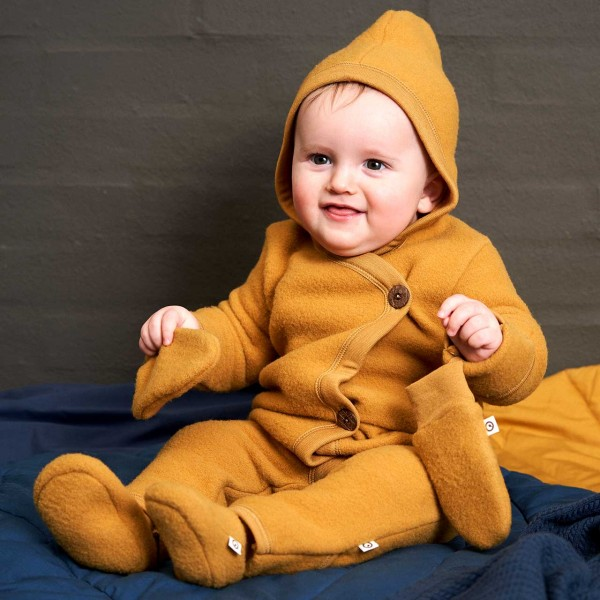 Softer Woll Fleece Overall mit Kapuze in senfgelb