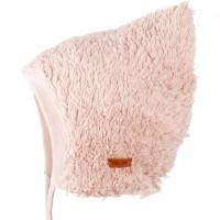 Baby Plüsch Mütze zum Binden rosa