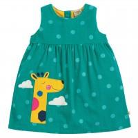 Grünes Cordkleid Giraffe ohne Arm