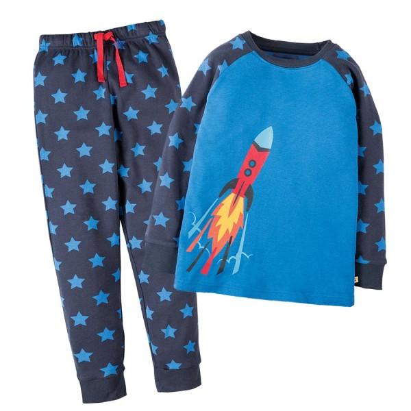 Raketen Schlafanzug mit Bündchen
